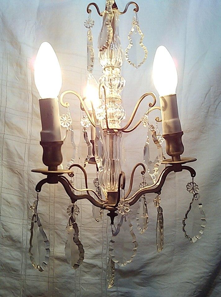 Lampara antigua de bronce y cristal s 620 00 en - Lamparas de cristal antiguas ...